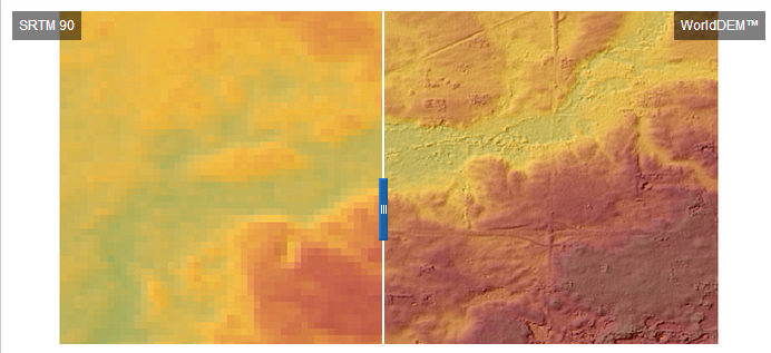 Comparison of SRTM 90 (left) and WorldDEM™ (right) data illustrating the substantial improvement in accuracy and quality of the new dataset; Location: Minnesota, USA