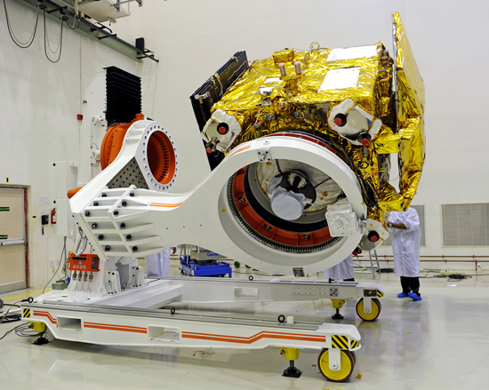 India's Mars Orbiter Mission (MOM) spacecraft being prepared for a prelaunch test at Satish Dhawan Space Centre SHAR, Srihairkota. Credit: ISRO