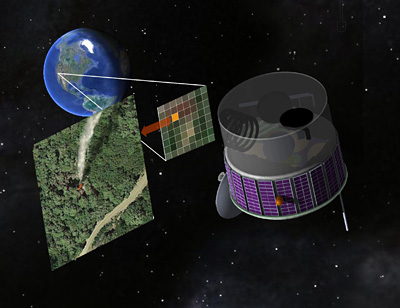 An artist's concept of the FUEGO satellite, which would snap digital photos of the Western U.S. every few seconds in search of hot spots that could be newly ignited fires. Image by R. E. Lafever, Lawrence Berkeley National Laboratory.