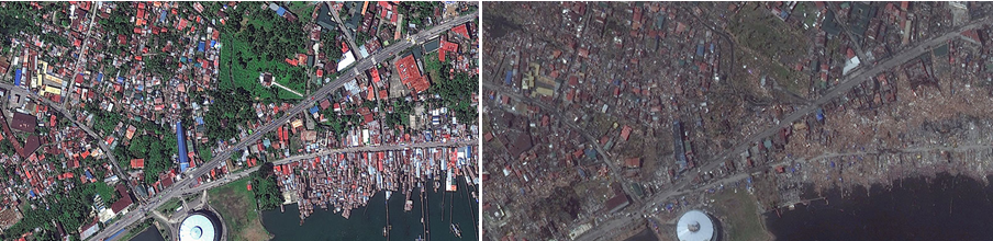 A DigitalGlobe image taken Feb. 22, 2012, shows the city of Tacloban before Typhoon Haiyan. At right, the same area on Nov. 10, 2013.