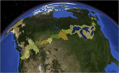 Digital Surface Watersheds along the U.S. and Candian International Boundary.
