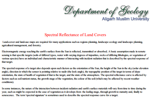 Spectral Reflectance of land Cover
