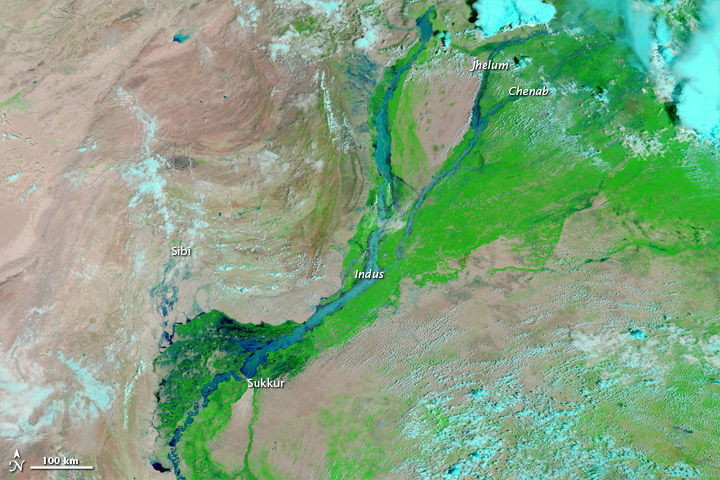 Flooding in Pakistan August 13, 2010. Image Courtesy: NASA