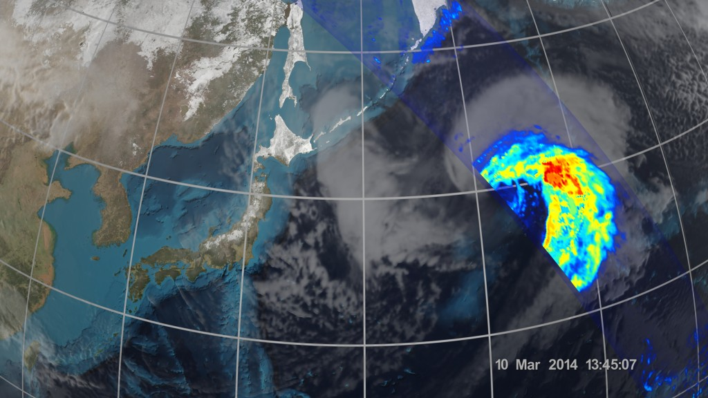 On March 10 the Core Observatory passed over an extra-tropical cyclone about 1,055 miles (1,700 km) east of Japan's Honshu Island. Formed when a cold air mass wrapped around a warm air mass near Okinawa on March 8, it moved NE drawing cold air over Japan before weakening over the North Pacific. Image Credit: NASA/JAXA