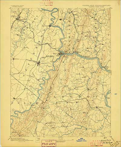 1894 USGS 30 minute (1:250,000 –scale) quadrangle of the Harpers Ferry, Maryland area.