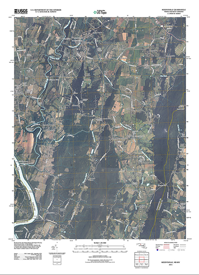 2014 US Topo map of the Keedysville, Maryland area, with ortho image turned on