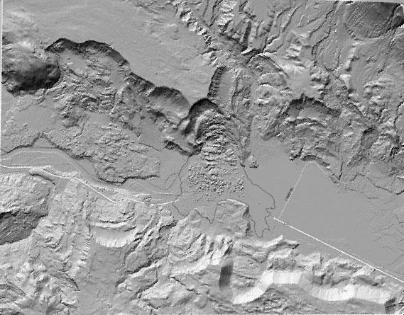Lidar image showing the upper parts of the landslide that occurred in northwest Washington on March 22, 2014.