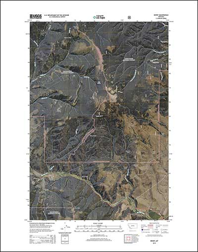 2014 US Topo map of the Dewey, Montana area with image layer turned on