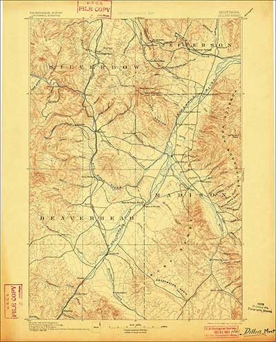 Scan of 1893 USGS topographic map of the Dewey, Montana area from the USGS Historical Topographic Map Collection