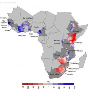 Researchers analyzed water availability trends in African maize-growing regions from 1979 to 2010. Each quarter-degree grid cell represents a 200-square-mile area and is colored according to its average water availability level during the maize growing season. In redder areas, water availability is more limited by rainfall levels, while bluer areas are more limited by evaporative demand. (Image source: Environmental Research Letters)
