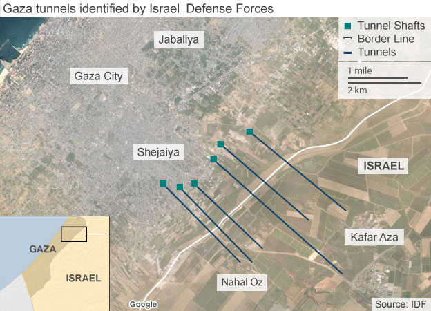 A map of six of the 32 tunnels which the IDF says it has found in Gaza