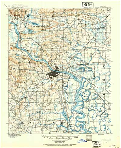 Scan of the 1891 USGS topographic map of the Little Rock, Arkansas, area from the USGS Historical Topographic Map Collection (1:125,000 scale)