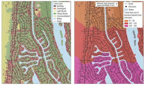 Landcover map (left) and pedestrian evacuation time estimate map (right) Ocean Shores, WA
