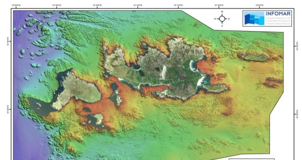 Seabed survey carried out by the Geological Survey of Ireland in 2012. Data shown here vertically exaggerated four times to highlight features.  Credit: Irish Times