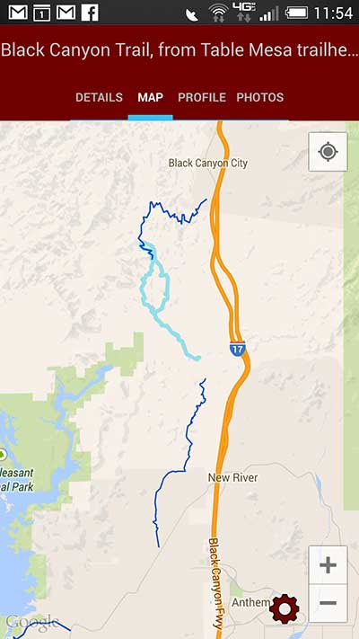 Screen shot of the MTB Project mobile app, showing the Black Canyon Trail in Arizona. Credit: USGS