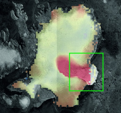 The  figure above shows the rate of ice cap elevation change between 2010 and 2014 observed by CryoSat, overlaid on an image acquired by Sentinel-1A (in 2014). Red indicates that the ice surface is lowering. In the southeast region (green box) ice thinning far exceeds the colour scale of 2 m per year.  CPOM/GRL
