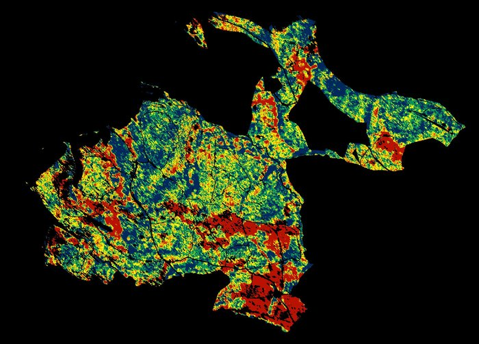 Changes in forest height. This image of forest in Traustein, Germany, shows how radar can accurately measure changes in forest height over time. Red corresponds to forest parcels where height has been reduced by 5–10 m between 2003 and 2009, possibly owing to logging or storm damage. By contrast, blue corresponds to forest that has grown by 5–10 m over the same time. Green depicts little change. Credit: DLR HR Microwave and Radar Institute