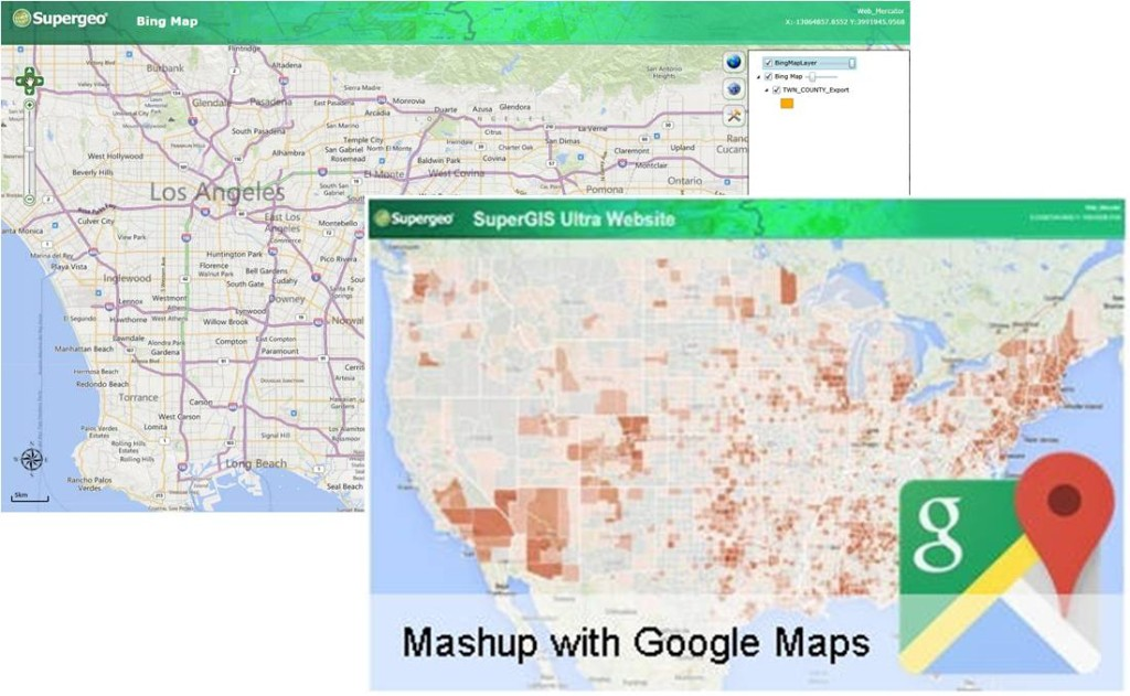 New SuperGIS Server 3.2 supports direct mash-ups with more online maps