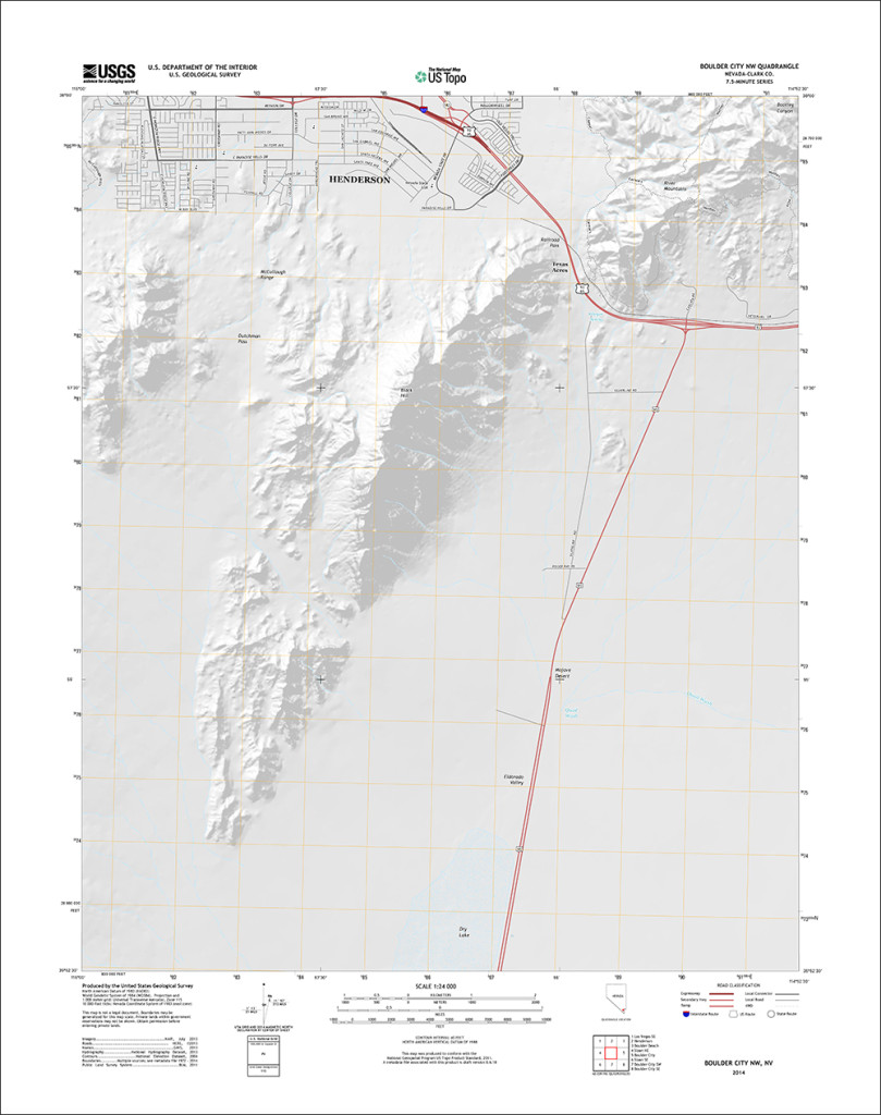 Updated 2015 version of Boulder City, Nevada quadrangle with orthoimage turned off to better see the trail network. (1:24,000 scale)