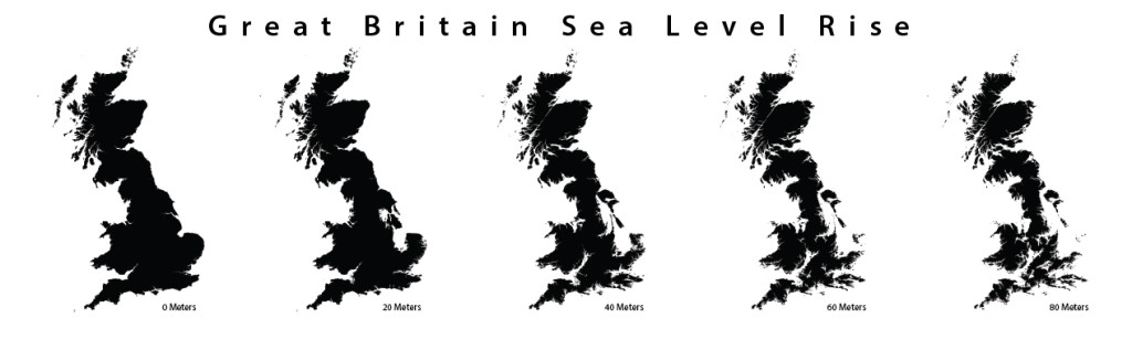 England in 200 years–with an anticipated sea level rise of 8 meters.