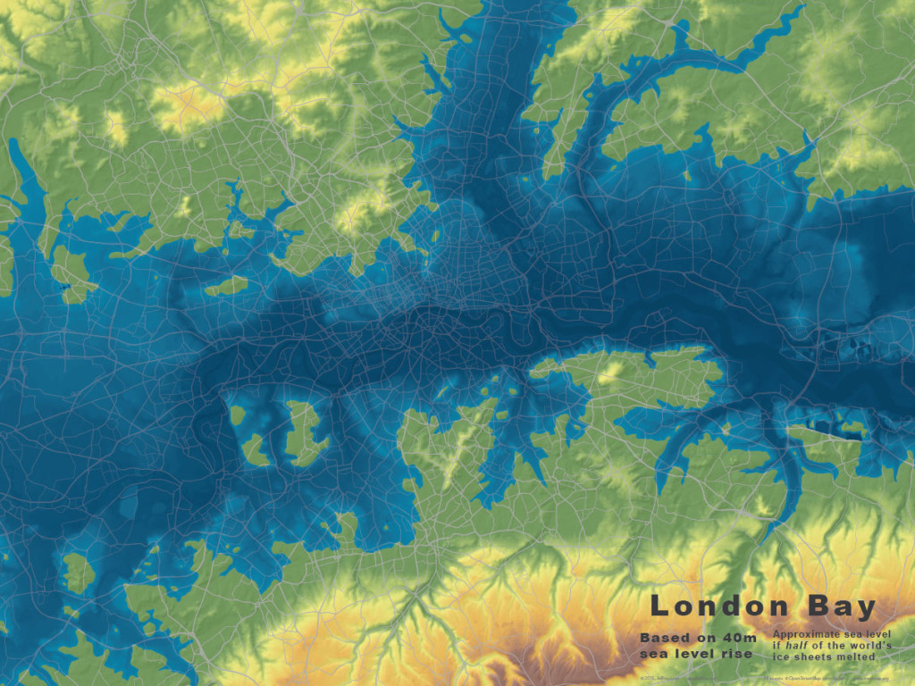 Base maps for London, at 40m  of sea level rise.