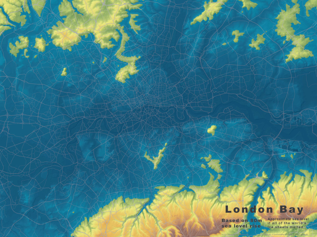 Base maps for London, at  80m of sea level rise.