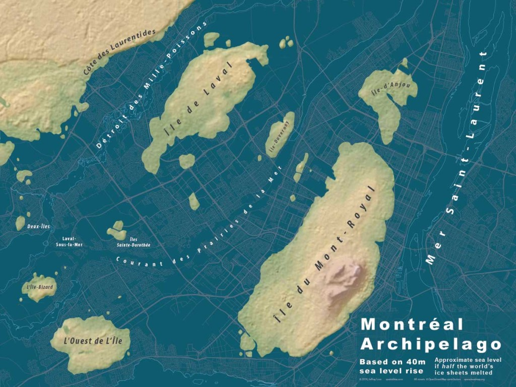 This map shows 40 meters of sea level rise. Only half of the world's ice sheets melted to produce this archipelago.