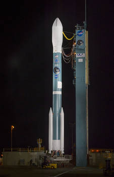 NASA's Soil Moisture Active Passive (SMAP) observatory, on a United Launch Alliance Delta II rocket, is seen after the mobile service tower was rolled back Friday, Jan. 30 at Space Launch Complex 2, Vandenberg Air Force Base, Calif. Image Credit: NASA/Bill Ingalls