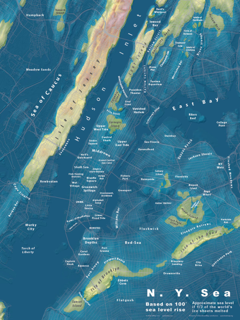 This NYC map shows the effects of 100 feet of sea level rise. According to the USGS, the highest it could rise is about 260 feet.