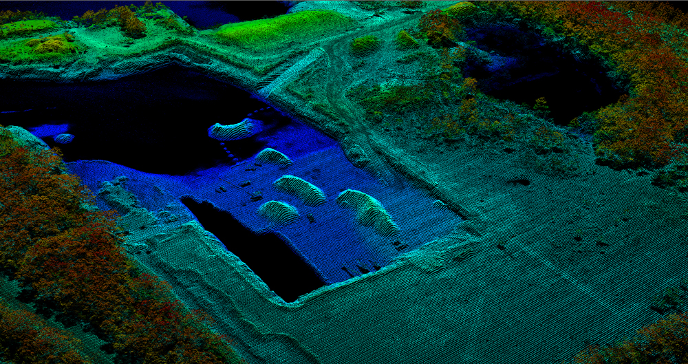 A raw point cloud from sample data captured in Williston, FL, with the Leica ALS80