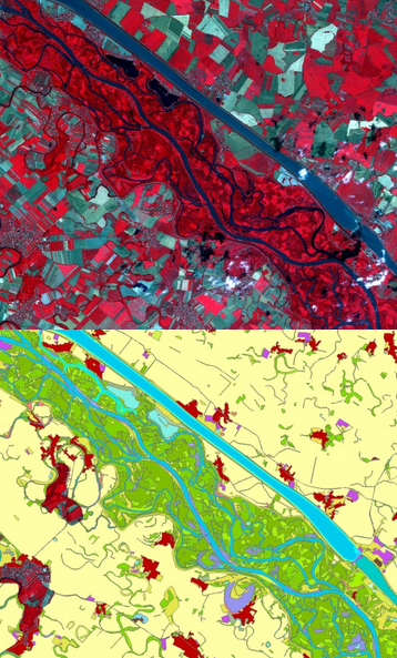 Very High Resolution satellite imagery of the Danube area (upper image) and the derived land use/land cover map (lower image). Credits: Copernicus Land Monitoring service (Satellite imagery © Airbus Defence & Space, 2011, provided under EC/ESA GSC-DA).