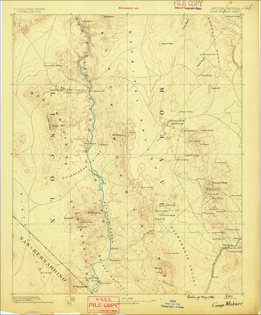 Vintage 1886 quadrangle covering the Boulder City, Nevada and Camp Majove, Arizona area from the USGS Historic Topographic Map Collection. 1:25,000 scale