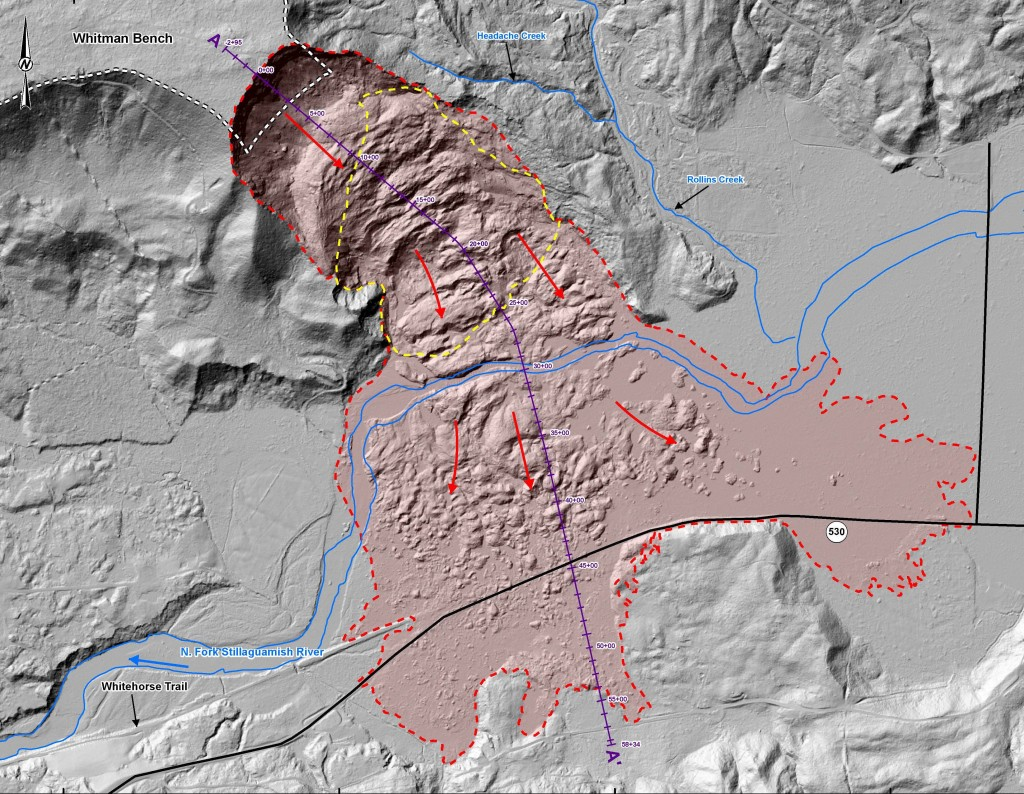 Annotated lidar map of the landslide zone. Credit: Earth Magazine