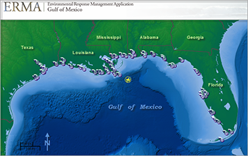 ERMA displays sampling locations in the Gulf of Mexico for the NOAA Mussel Watch Program, which monitored contaminant levels from mussels before and after the Macondo well blow-out in 2010 (well site shown in yellow). Source: NOAA.