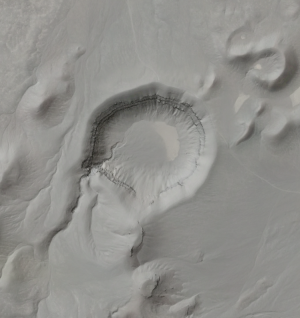 Hillshade image with slight transparency to show Google Earth imagery of the Lunar Crater Volcanic Field, Nevada.