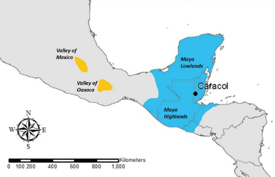 Map of Mesoamerica showing the location of the Valleys of Mexico and Oaxaca in relation to sites in the Maya area