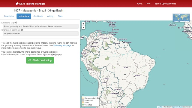 Mapazonia_OSM task manager