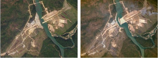Left: a Landsat image of the Lower Se San 2 Dam in Cambodia taken on December 22, 2014. Right: A Planet Labs image of the dam taken less than a month later on January 14, 2015. Credit: Planet Labs