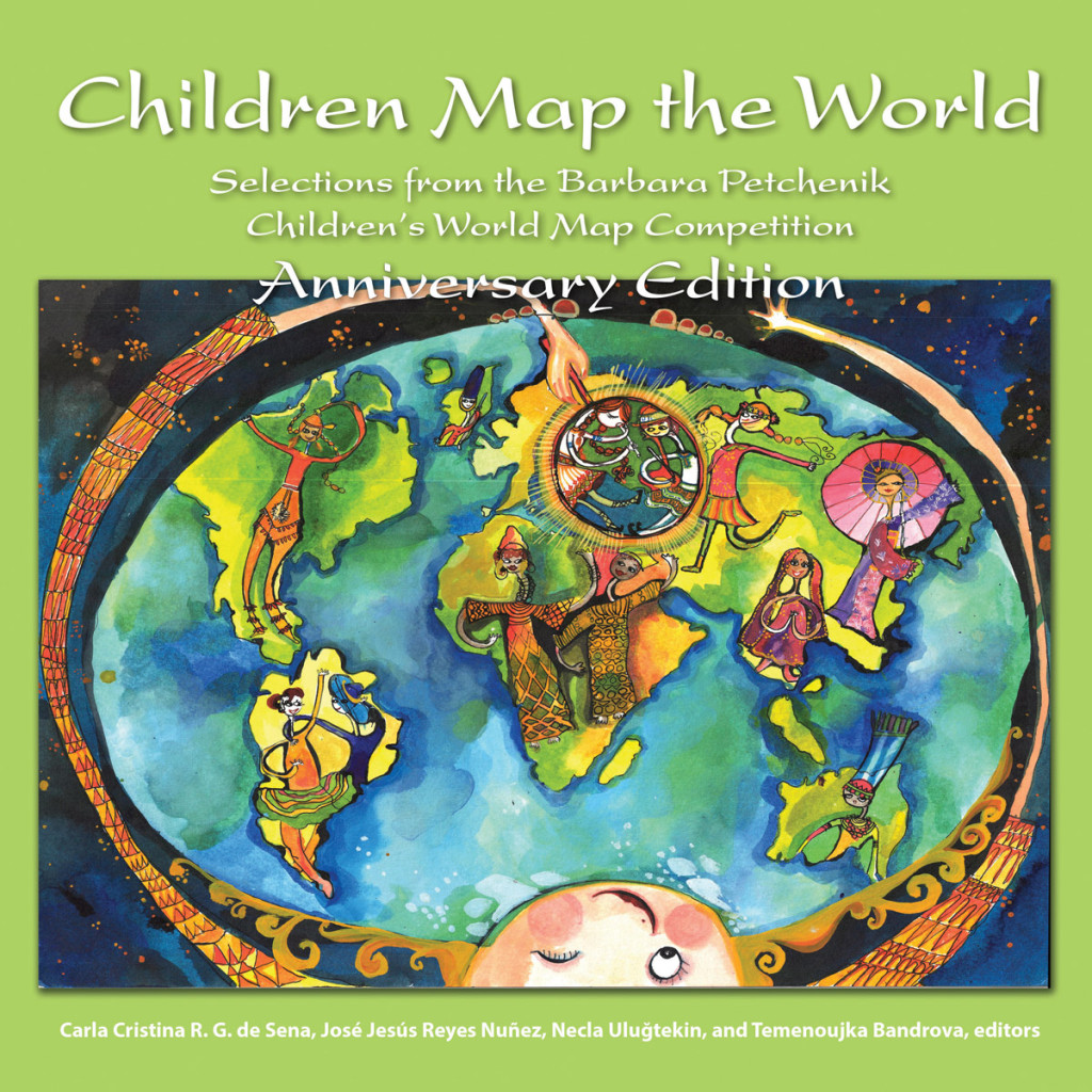 This anniversary edition includes 70 maps and pieces of geographic art from the Barbara Petchenik Children's World Map Competition, sponsored by the International Cartographic Association (ICA).  Credit: Esri