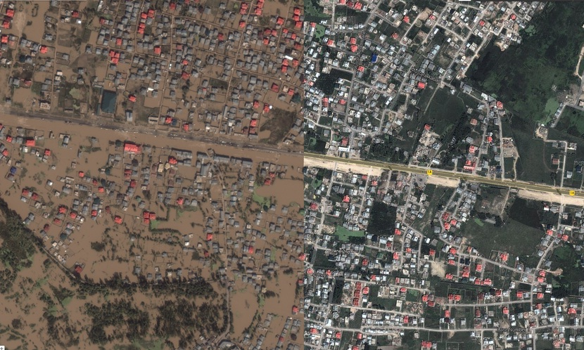 This image from the Jammu and Kashmir Crisis Map shows a before and after cross section from the city of Srinagar Sep. 2014.  Credit: Google India