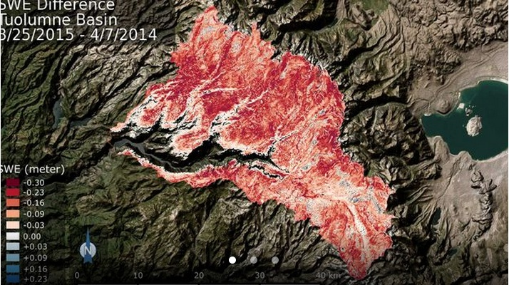 Deficit in the total volume of water contained within the Tuolumne River Basin snowpack from this time in 2014 to now. The deeper the red color, the greater the volume of water lost. Credit: NASA/JPL-Caltech