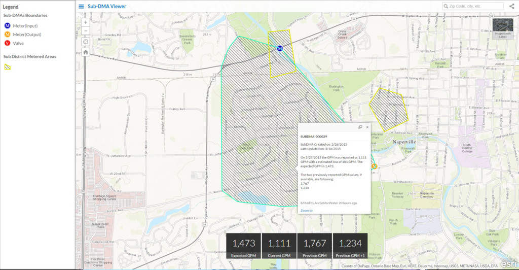 A view of Esri's Nighttime Flow Analysis shows a sub-district metered area outside Naperville, Illinois. The viewer helps decision makers compare flow in expected and actual gallons per minute to help identify leaks.