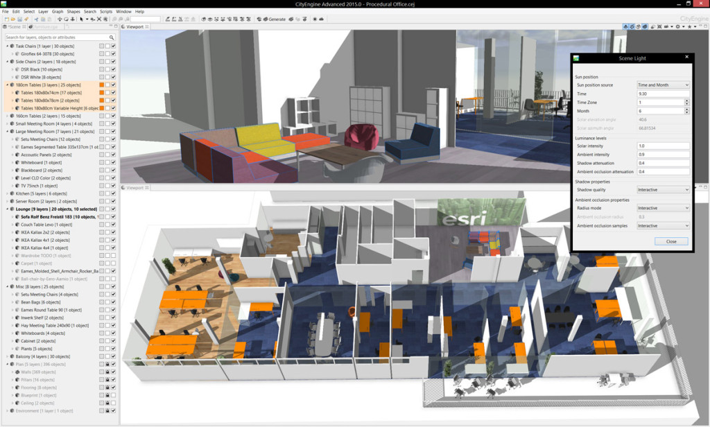Modern layer management and enhanced real-time shadows based on daytime and location are available in the latest release of CityEngine.
