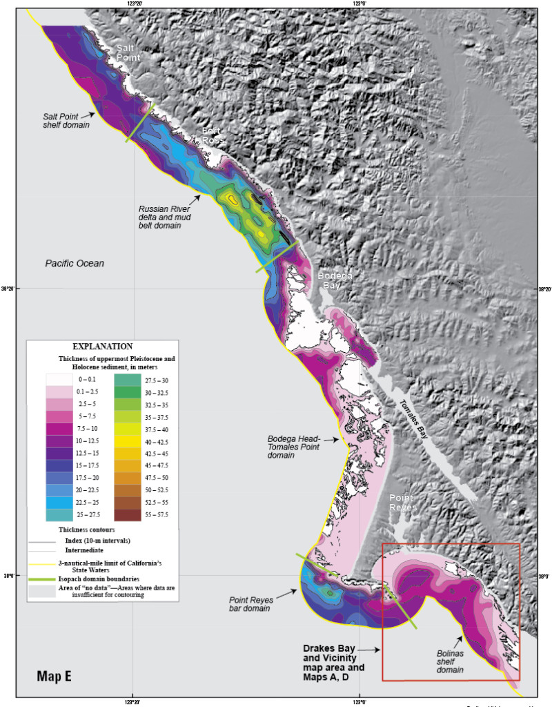 Map of offshore sediment thickness in State Waters between Drakes Bay and Salt Point, north of the Russian River. The thickest sediment in the region occurs offshore of the Russian River, and in a large bar along the south flank of Point Reyes Head. There is a relative lack of offshore sediment between Bodega Head and Point Reyes, where the shelf is characterized by abundant rocky habitat and much of the coastal sediment is trapped in large onshore dune fields.