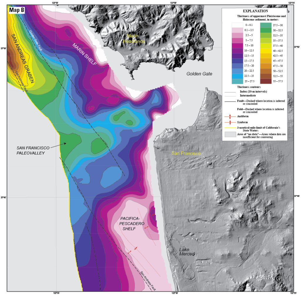 """Map of sediment thickness in state waters offshore of San Francisco. About 21,000 years ago, sea level in this area was about 125 m lower and the shelf offshore San Francisco was an emergent land surface. At that time, the Sacramento River drained through the Golden Gate and eroded a valley (""""the San Francisco paleovalley"""") that was filled with sediment during subsequent sea-level rise. The thickest young sediment in the region occurs in the """"San Andreas graben,"""" a basin that formed by crustal down dropping along the offshore section of the San Andreas fault. There is very little sediment on the shelf offshore of southern Ocean Beach (a pattern that extends south to Pescadero), a factor important for understanding and forecasting coastal erosion in this area."""