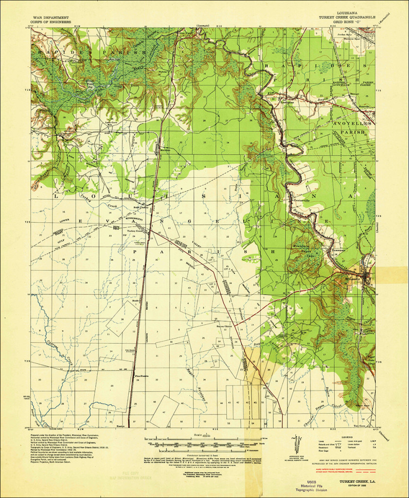 Scan of the 1935 USGS quadrangle of the Turkey Creek area (which covers the Saint Landry map) from the USGS Historic Topographic Map Collection. (1:62, 500 scale)