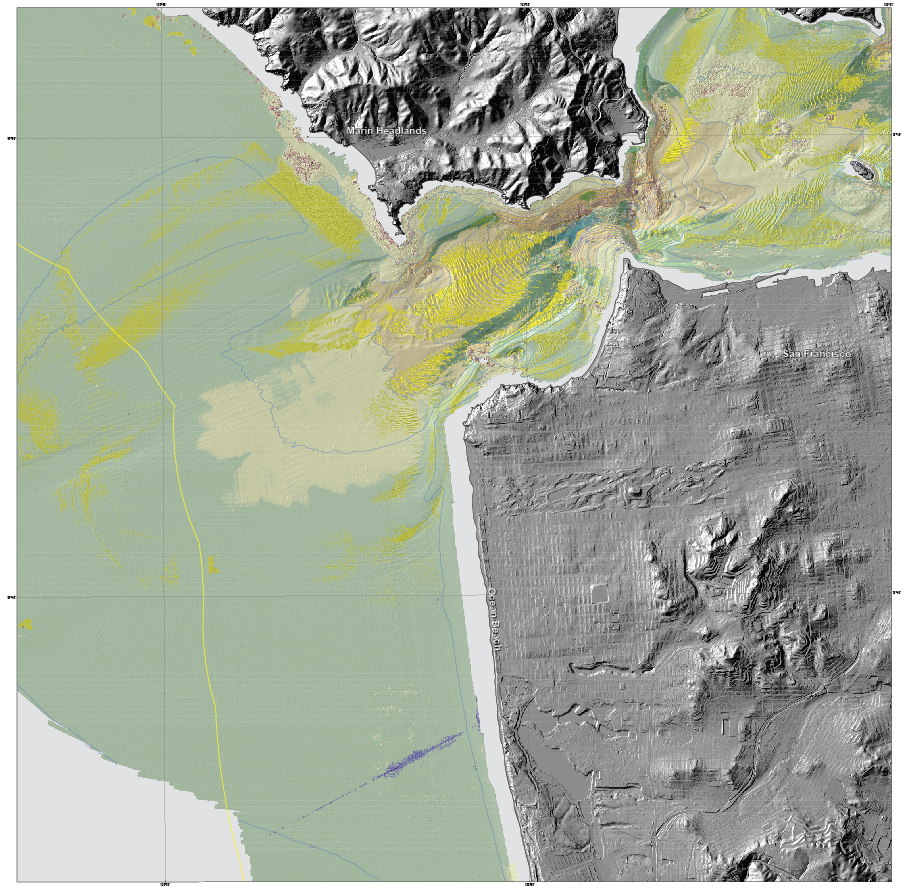 """""""Seafloor character"""" map of the San Francisco Region. This is a type of habitat map that classifies the seafloor based on surface hardness and roughness. Such maps are used in various types of ecosystem assessments and seafloor zoning, such as delineation or monitoring of marine protected areas."""