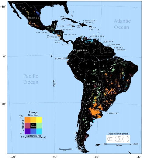 Cropland and pastureland change dynamics across Latin America (2001–2013). The colors illustrate the change direction, and the hexagon zone relative size represents the annual change rate. Zones shown in black had either insufficient cropland or pastureland, or the 13 yr, least squares polynomial trends were non-significant (p  Credit: Jordan Graesser