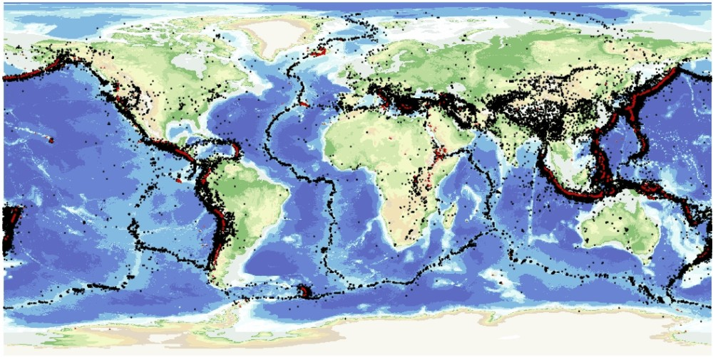 A map of the world's earthquakes shows that most of them lie in narrow zones, often around the edges of the continents, or in the middle of the oceans