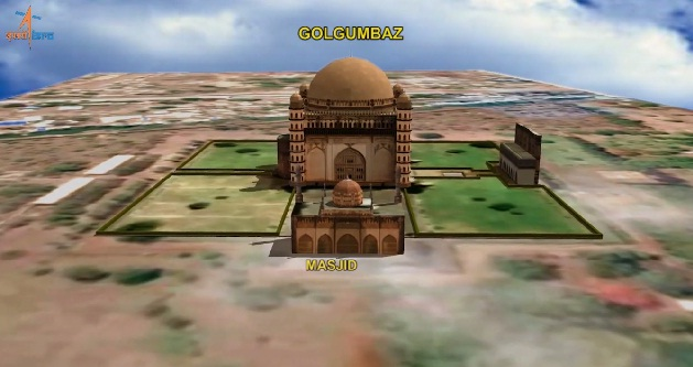 3D Digital model of Gol Gumbaz – world's one of the largest dome structure.   Credit: ISRO